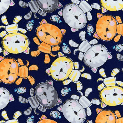 Cats and birds fabric