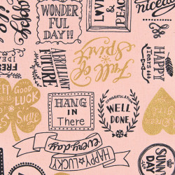 Lucky Typo canvas fabric antique pink, detail