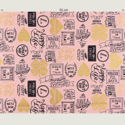 Lucky Typo canvas fabric antique pink