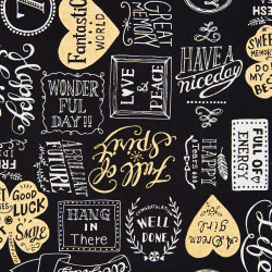 Lucky Typo canvas fabric, black-detail