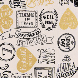 Lucky Typo canvas fabric beige, detail