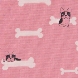 Dog and bone fabric (canvas), detail