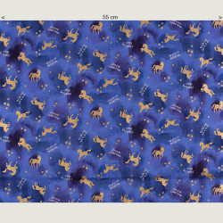 Golden unicorn fabric, half width