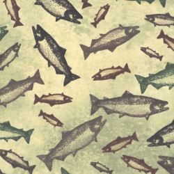 Swimming Salmon Fabric, detail
