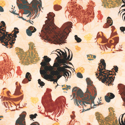 Roosters and Chickens fabric