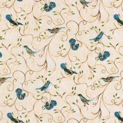 Fabric with birds in blue Hydrangea colors