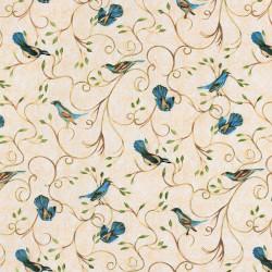 Stof met hortensia blauwe vogels