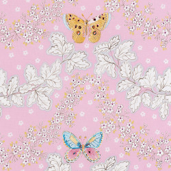 Pink cotton fabric with a butterfly print