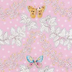 Roze katoen met een vlinder print