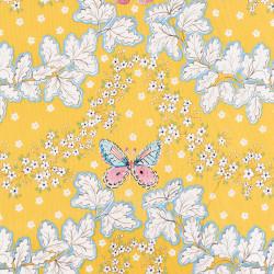 Gele katoen met een vlinderprint