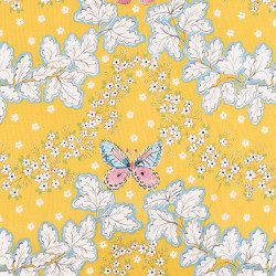 Yellow cotton fabric with a butterfly print