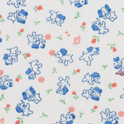 White cotton fabric with elephant print