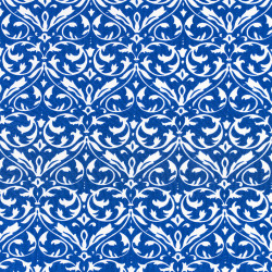 Blauwe katoen met witte ornamenten print