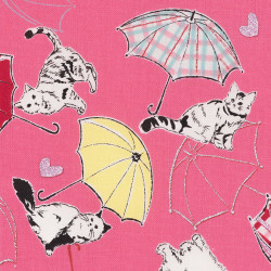 Japanese fabric with umbrellas and cats, detail
