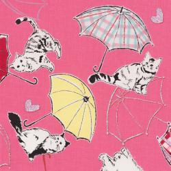 Japanse stof met paraplu's en katten, detail