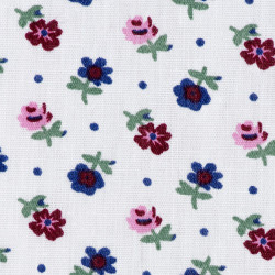 White cotton fabric with small flowers, detail