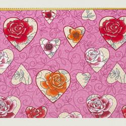 Rose hearts fabric