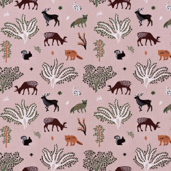 Pink cotton fabric with a forest animals print