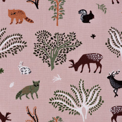 Pink cotton fabric with a forest animals print, detail