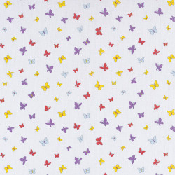 Colored butterfly print white cotton fabric