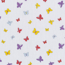 Colored butterfly print white cotton fabric, detail