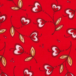 Hearts flower fabric red