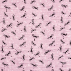 Dragonfly fabric antique pink