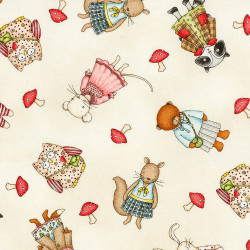 Forest Friends fabric girl