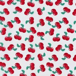 Red cherry fabric white