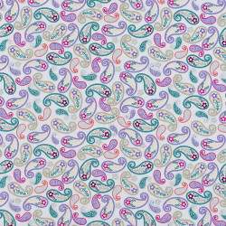 White cotton fabric with colored paisley print