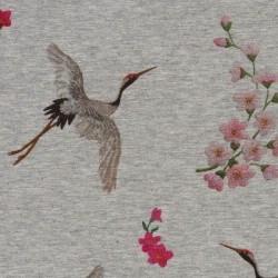 Sakura and crane jersey fabric