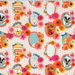 Animals and flowers fabric