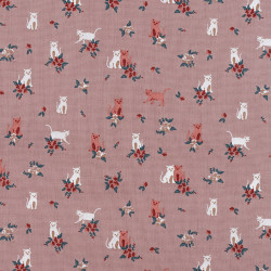 Cats and flower cotton fabric pink