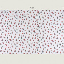 Cats and flower fabric white, half width