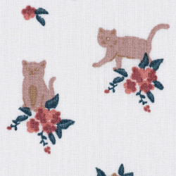 Cats and flower fabric white, detail