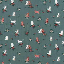 Cats and flower fabric green