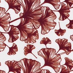 Japanese Ginko leaf fabric red