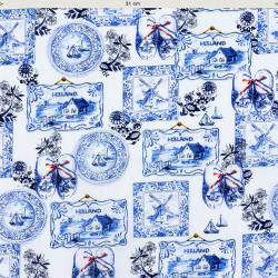 Delft blue wall plates fabric