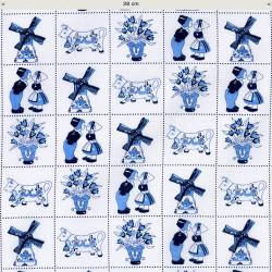 Delft blue tiles fabric