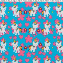 Pony unicorn fabric blue
