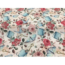 Romantic fabric with roses,...