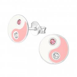 Yin Yang earrings pink