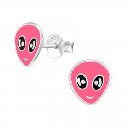 Alien earrings pink