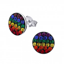 Round rainbow earrings