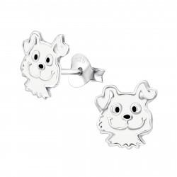 Dog earrings white