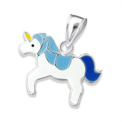 Unicorn pendant blue