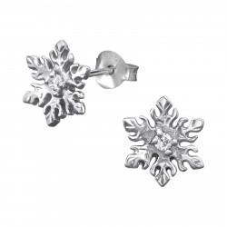 Zirconia snow crystal earrings
