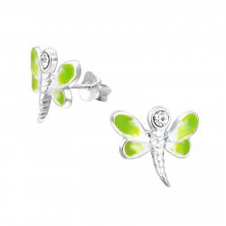 Dragonfly earrings green