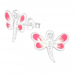 Dragonfly earrings pink