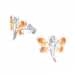 Dragonfly earrings orange